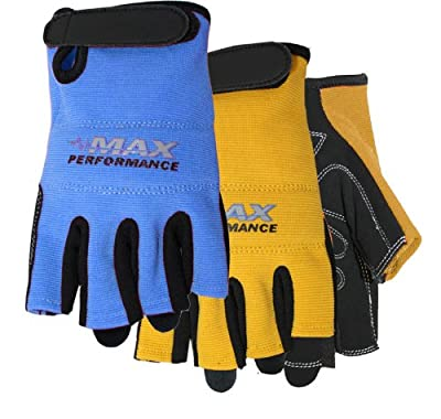 Midwest Gloves and Gear Max Performance Fingerless Synthetic Work Glove, 1-Blue/1-Yellow, 2-Pack