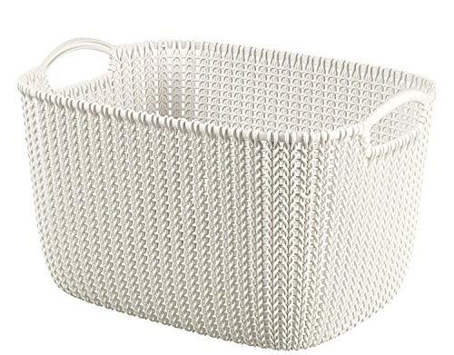 CURVER Knit rectangulaire Panier de Rangement, Plastique, Oasis, Blanc, 19 Litre