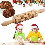 VZATT Weihnachten Teigroller, Präge Nudelholz, Antihaft 3D Gravierte Teigroller Holz mit Prägung Weihnachtsmuster Nudelholz Klein als Backzubehör für Küche