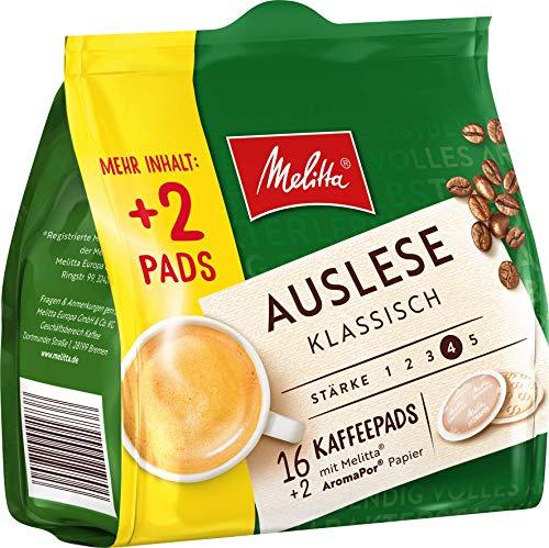 Melitta gemahlener Röstkaffee in Kaffeepads, 10 x 16+2 Pads, vollmundig und temperamentvoll, Stärke 3 bis 4, Auslese klassisch, 1300 g