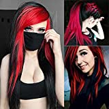 Baruisi Long Red Black Wig Silky Straight Synthetic Heat Resistant Side Bangs Halloween Costume Hair Wigs for Women