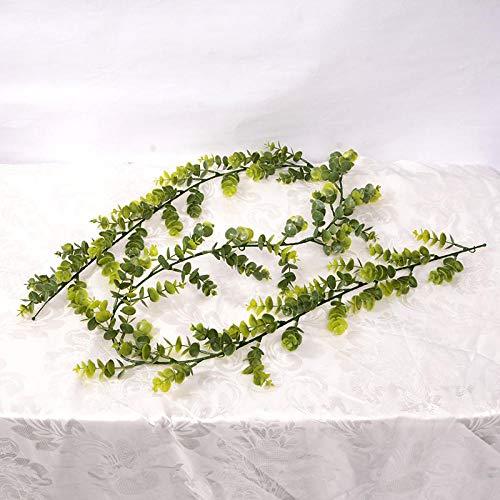 Promworld Plantas Artificiales Colgantes Hojas de Vid Enredaderas,Simulación Eucalyptus Flower Vine-A,Guirnalda Hiedra Artificial De Ventana para Decoración