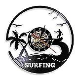 LKJHGU Sea Waves Palms Summer Beach Wall Art Surf Reloj de Pared Surf Decoración para el hogar Surfers Disco de Vinilo Reloj de Pared Regalo para los Amantes del Surf