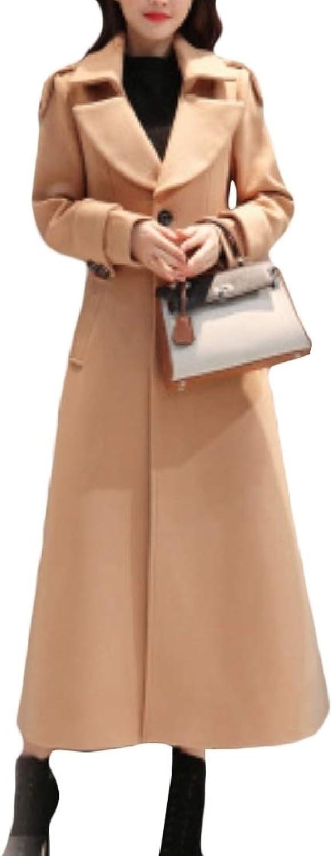 Cheelot Women's Swing Belted Cuffs Long Slant Pockets Pea Coats