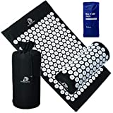 Acupuncture Mat and Pillow Massage Set - by DoSensePro + Gel Pack. Acupuncture Mattress for Neck and Back Pain. Relieve Sciatic, Headaches, Aches at Pressure Points. Natural Sleeping Aid (Black)