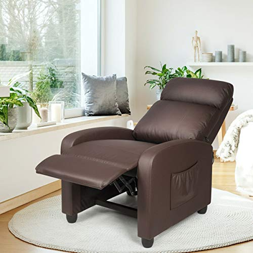 Kids Recliner with Cup Holder Brown Leather Sofa Chair Recliners Chairs for...
