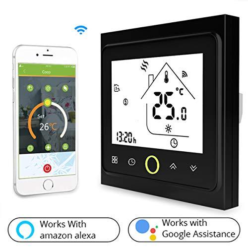 Termostato Inteligente para caldera de gas/agua,Termostato Calefaccion Wifi Pantalla LCD (pantalla TN) Botón táctil retroiluminado programable con Alexa Google Home and Phone APP-Negro