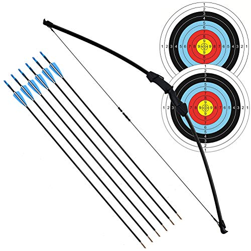 """kaimei 45"""" Archery Bow and Arrow Set Start Recurve Bow Outdoor Sports Game Hunting Toy Gift Bow Kit Set with 6 Arrows 18 Lb for Kids Children Teens Youth (Black)"""