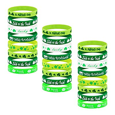 Honsny 24 Pieces St.Patrick's Day Bracelets Shamrock Irish Rubber Wristbands Bracelet St. Patricks Day Party Favors Green Rubber Silicone St. Patrick's Accessories