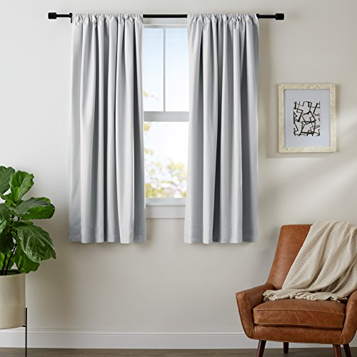 Amazon Basics Room Darkening Blackout Window Curtains with Tie Backs Set - 52' x 63', Light Gray