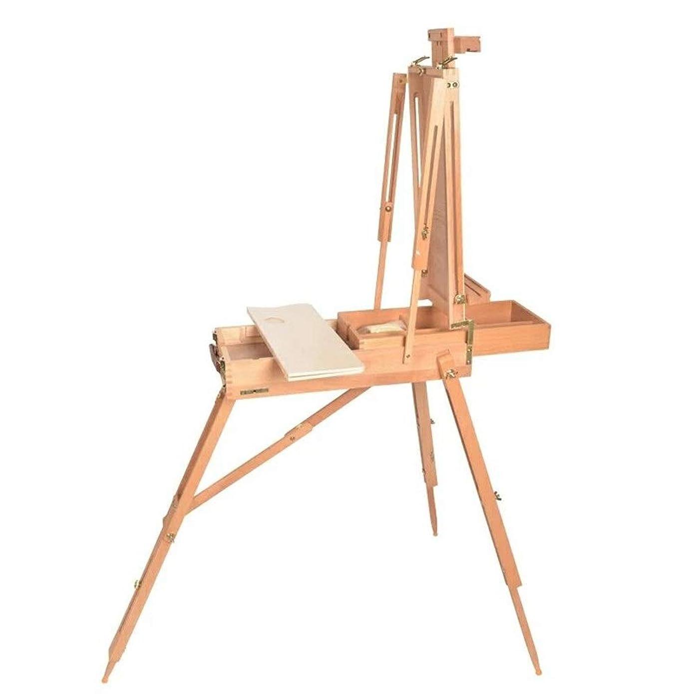 ボクシングドアミラー戸棚木製イーゼル スケッチボックスポータブルスケッチ描画するためのイーゼルポータブル頑丈なホルダースタンド理想の絵画芸術と絵画とイーゼル 使いやすい (色 : Natural, Size : A)