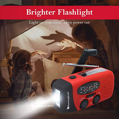 Product Image 4: [Upgraded Version] RunningSnail Emergency Hand Crank Self Powered AM/FM NOAA Solar Weather Radio with LED Flashlight, 1000mAh Power Bank for iPhone/Smart Phone