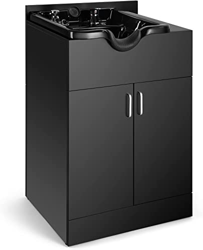 high quality Artist hand Shampoo Backwash Sink Station with Shampoo Bowl discount Shampoo Station, Backwash Sink outlet sale Chair Spa Salon Beauty Equipment, Used with Barber Chair and Shampoo Chair(Black) outlet sale