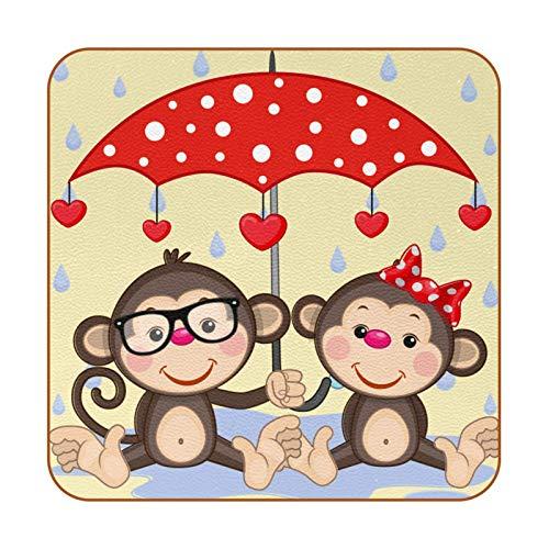Posavasos para bebidas, juego de 6, posavasos para bebidas frías, copas de vino, tazas de San Valentín, amante de dibujos animados, paraguas lluvioso