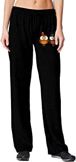 Owl Thanksgiving Turkey Clip Art Women's Sweatpants with Pockets Athletic Pants for Jogging,Yoga,Dance,Running