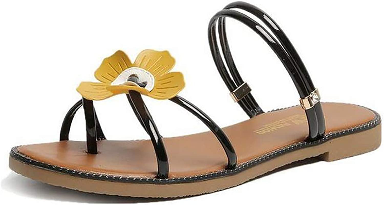 Woman's Beach Slipper Flower Artificial Roman Style T-Strap Summer Flip Flops
