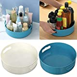 MQDL Multi-Function Rotating Tray/Kitchen Organizer/Cosmetics Organizer 360 Degree Rotating Storage Tray Turntable Rotating Storage Container Food Spices Cosmetic (Blue+White)