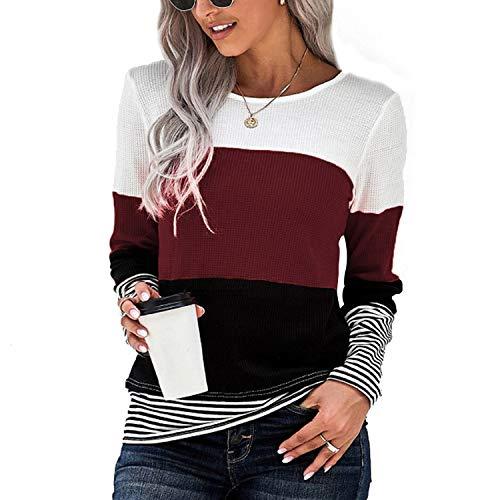 PESION Womens Waffle Knit Tops Long Sleeve Shirts Striped Color Block Tunics Blouses, White+ Burgundy+ Black, X-Large