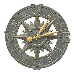 Whitehall Products Compass Rose Clock, Bronze Verdi