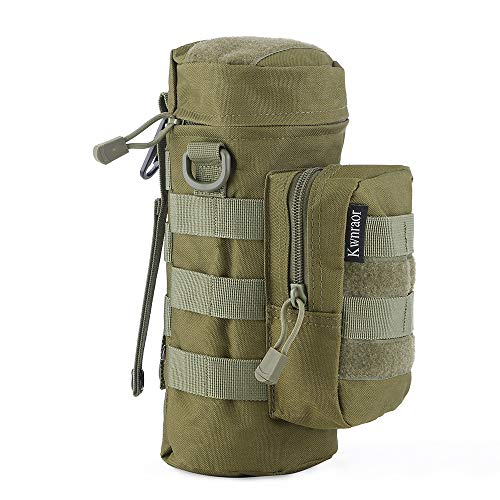 KWNRAOR Molle Water Bottle Holder, Tactical Water Bottle Pouch Military Sports Kettle Pouch for Outdoor Travel Cycling with D-Ring Hook (Army Green)