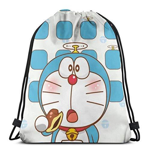 DNBCJJ - Bolsa de deporte con cordón, Doraemon con Dorayaki