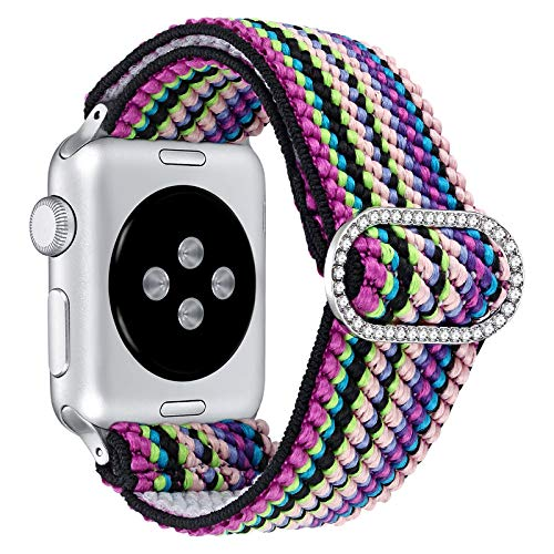 fastgo Elastic Adjustable Bling Band Compatible with Apple Watch Women 38mm 40mm 42mm 44mm, Fabric Stretchy Wristband Nylon Solo Loop Sport Watchband Strap Bracelet for Iwatch Series 6 5 4 3 2 1(Rainbow, 42mm/44mm)