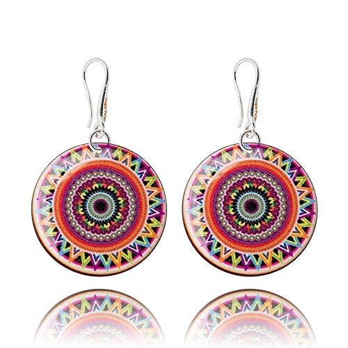 Elegant Spanisch Stil Braun Rot und Blau Gelb Baumeln Ohrringe Geschenke für Damen; Unique Regenbogenfarben Geburtstag Schmuck; Durchmesser 3cm
