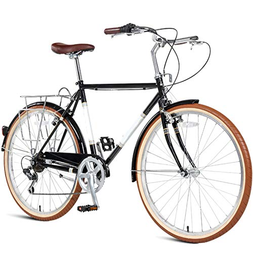 TWW Bicicleta para Hombres Y Mujeres 26 Pulgadas 7 Velocidades Bicicleta Retro para Adultos Estudiantes Masculinos Y Femeninos Bicicleta De Coche Deportivo,Negro