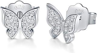 925 Sterling Silver Stud Earrings, BoRuo Cubic Zirconia Butterfly Earrings