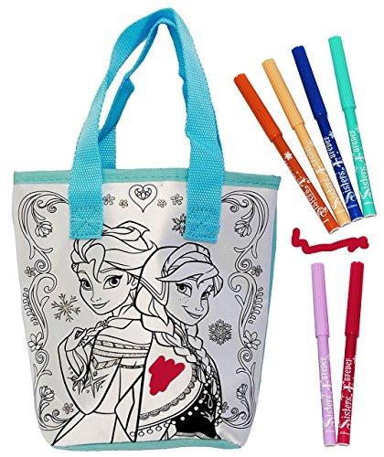 alles-meine.de GmbH Bastelset zum Bemalen - für Tasche / Henkeltasche / Tragetasche -  Disny die Eiskönigin - Frozn  - abwischbar groß + mit 6 Textilstifte - Kindertasche Tasch..