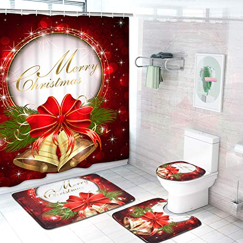 4 Pcs Merry Christmas Shower Curtain Sets with Non-Slip Rugs, Toilet Lid Cover, Bath Mat and 12 Hooks Red Bell Bow Shower Curtain for Christmas Decoration