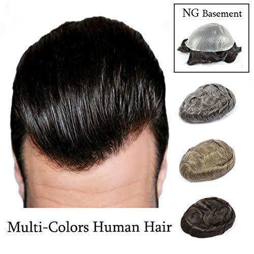 LUBOT Echthaar Toupet für Männer Haarteile Herrenperücke Natürlich Herr Perücke Human Hair Toupee NG ASH5