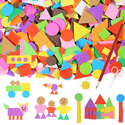 Sntieecr 1000 Pieces Assorted Colors Foam Geometry Stickers Mini Adhesive EVA Foam Stickers with a Drawing Pencil and Scissors for Children DIY Arts and Crafts (Circle, Square, Triangle)