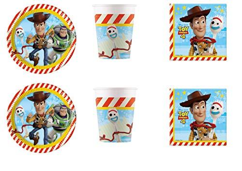 Party Store Web by casa süße Toy Story 4 Coordinate ADDOBBI Tisch Festa Woody und Buzz Lightyear - Kit Nr. 20 CDC-(40 Teller, 40 Becher, 40 Tassen, 40 Servietten