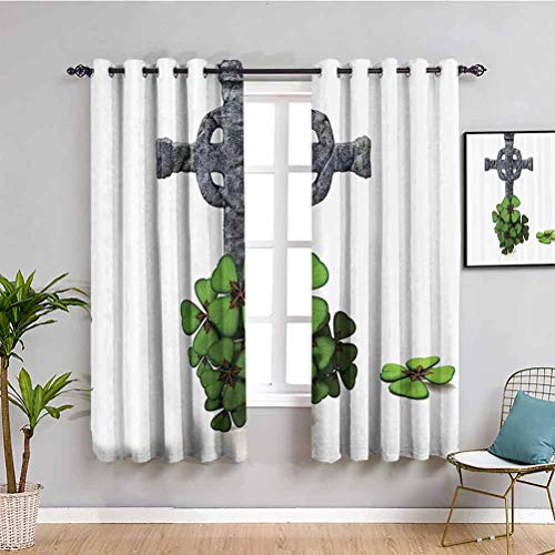 Cortina de aislamiento térmico con diseño de trébol de cuatro hojas, diseño floral, color gris y verde
