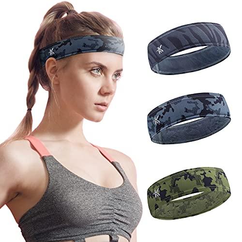 Vantage - Cinta para el pelo para hombre y mujer, elástica, antideslizante, absorbe la humedad, para yoga, correr, senderismo, bicicleta, pelotas de tenis (3 unidades)