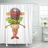 LRSJD Duschvorhang Salat Lustiger Clown aus Gemüse auf Karikatur Duschvorhänge Sets mit Haken 152,4 x 182,9 cm wasserdichtes Polyestergewebe