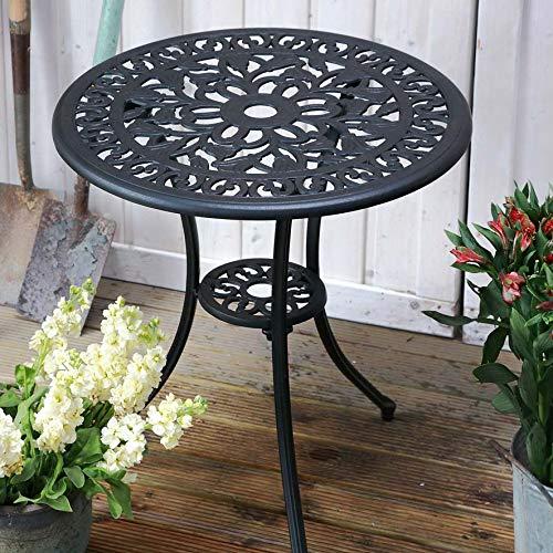 Lazy Susan TULIP 60cm Round Garden Table, Elegant, Weatherproof Cast Aluminium Patio Table in Antique Bronze