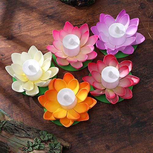 LEDMOMO 5 unids Lámpara de Loto Flotante Deseando Lily Candle Lotus Tealight Artificial Vela Flor Linternas Piscina Luz para Festival