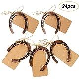 AmaJOY - 24 herraduras de la suerte de cobre con etiqueta kraft rústica, para bodas, fiestas, regalos, decoración vintage para bodas