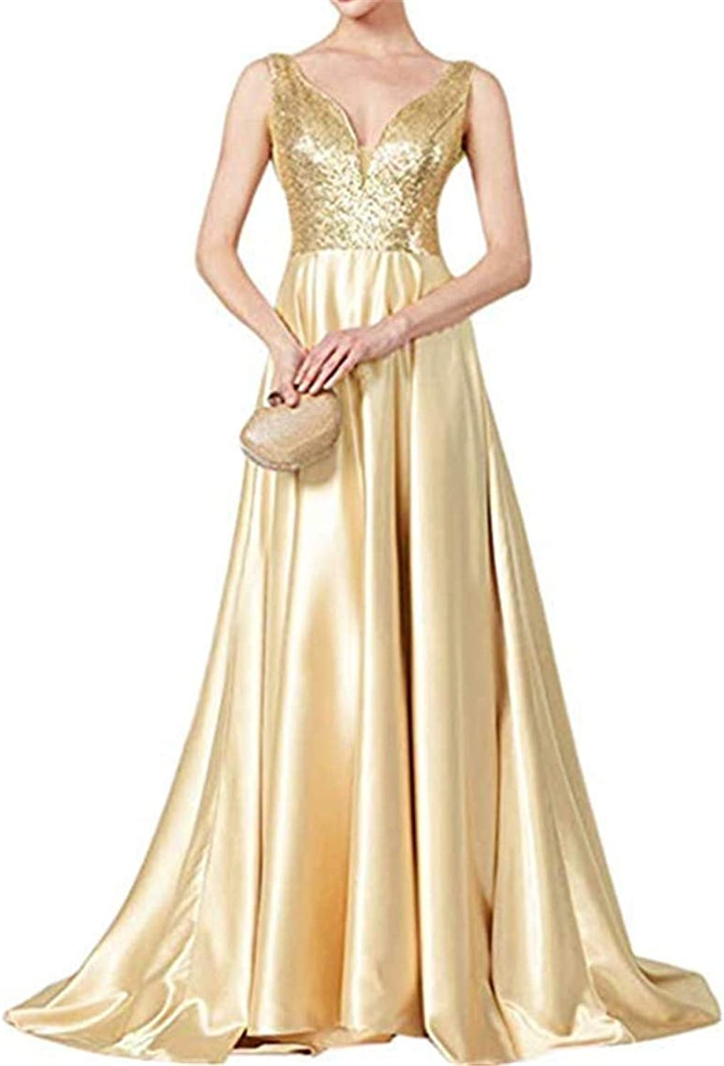 Sequins Bridesmaid Dress Long Prom Party Gowns Satin for Women