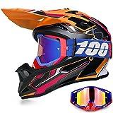 YASE Casco Motocross per Bambino/Adulto Sport Moto Cross Enduro Con Occhiali per Caschi ATV BMX Quad Cross Integrale Downhill DOT Omologato Ragazza Ragazzo Off-road (Arancio Nero,S (52-53 CM))