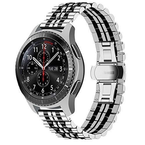 Juntan Schnellwechsel Armband 22mm Kompatibel for Gear S3 Frontier/Classic Premium Edelstahl Armbänder Kompatibel for Samsung Galaxy Watch 46mm Smart Watch Uhrenarmband Silber Schwarz