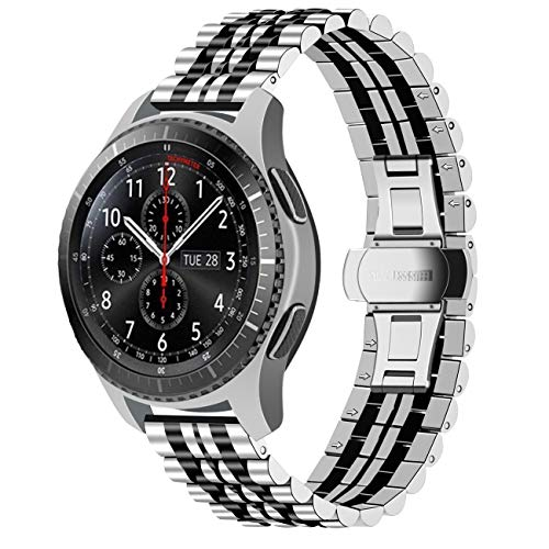 Juntan Liberación Rápida Correa Reloj 22mm Compatible for Gear S3 Frontier/Classic Pulseras Reloj Acero Inoxidable Premium Compatible for Samsung Galaxy Watch 46mm Banda Reloj Inteligente Negro Plata