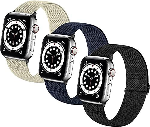 DLDQMY Correas de reloj elásticas trenzadas de nailon suave, compatibles con Apple Watch ajustable Sport transpirable correa de muñeca para IWatch Series 7/6/5/4/3/2/1/SE
