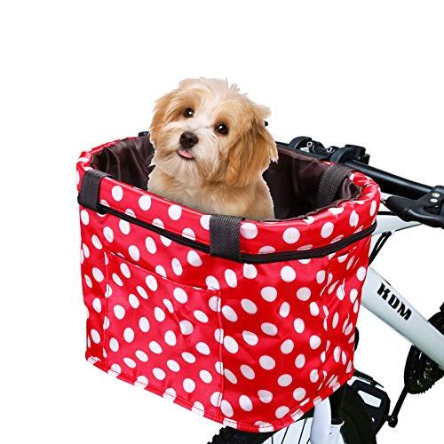 WILDKEN Cesta para Bicicleta Manillar Retro Cesta de Lona Frontal Desmontable de Bici Transportín de Bici para Mascotas Cesta Organizador de Almacenamiento para Viajes de Picnic al Aire Libre (Rojo-2)
