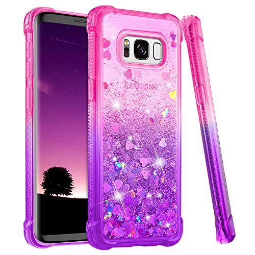 Ruky Galaxy S8 Plus Case, Gradient Quicksand Series Glitter Bling Flowing Liquid Floating Soft TPU Bumper Cushion Protective Women Girls Phone Case for Samsung Galaxy S8 Plus (Pink Purple)