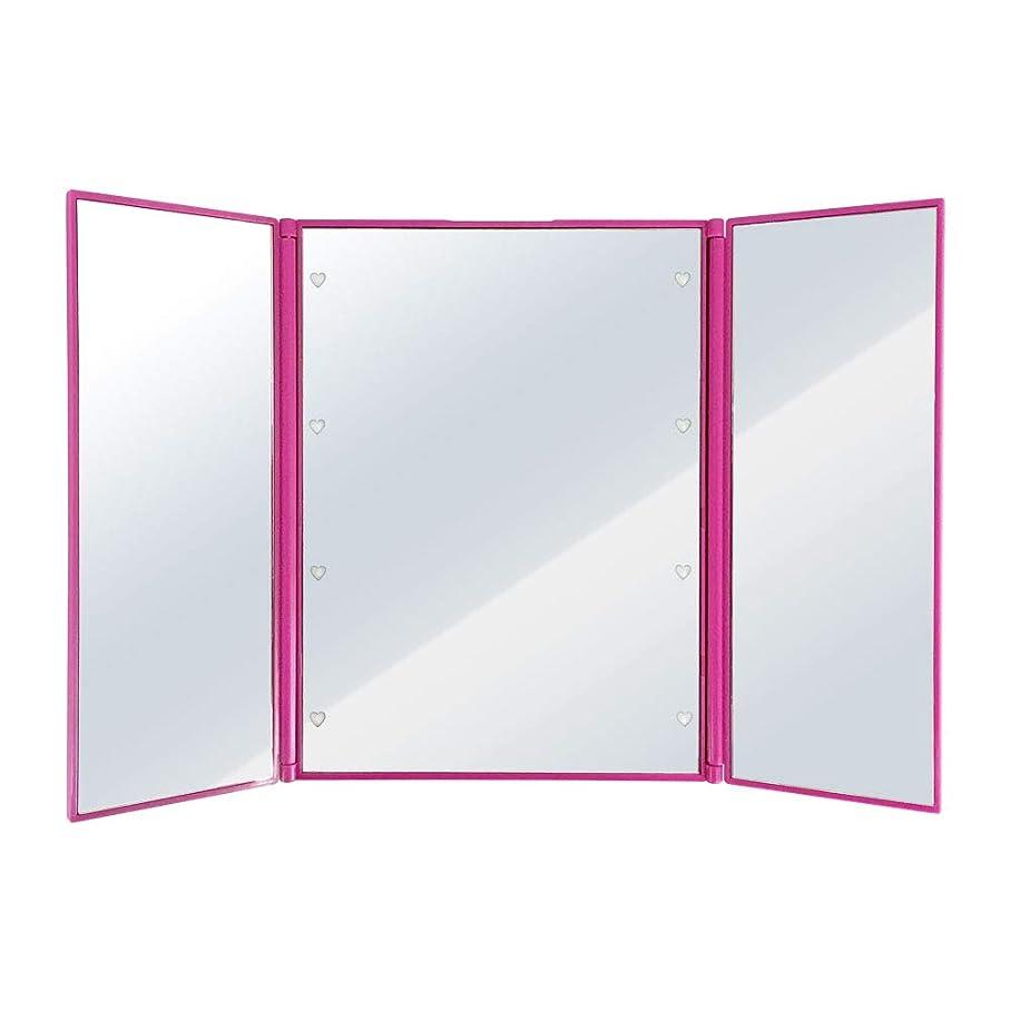 パイプライン花弁可塑性SUGGEST 卓上ミラー LEDライト付 【選べるカラー】 化粧鏡 三面鏡 ビューティーミラー (ピンク)