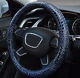 ontto ハンドルカバー ステアリングカバー 軽自動車 汚れ、滑り防止 傷にくい Mサイズ 38cm 37cm ワニ柄 触感いい レザー