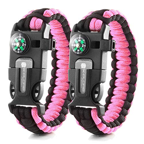 X-Plore Gear Emergency Paracord Bracelets | Set of 2| The Ultimate Tactical Survival Gear| Flint Fire Starter, Whistle, Compass & Scraper | Best Wilderness Survival-Kit - Pink(M)/Pink(M)